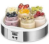 Gourmia GYM1620 Digital Yogurt Maker - 7 Glass 6 oz Jars - Custom Flavor & Thickness - Timer Control & Display - BPA-Free - Bonus Recipe Book