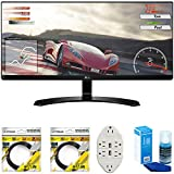 LG 34' IPS WFHD Ultrawide Freesync Monitor 2017 Model (34UM60-P) with 2X 6ft High Speed HDMI Cable, Screen Cleaner for LED TVs & Transformer Tap USB w/ 6-Outlet Wall Adapter and 2 Ports
