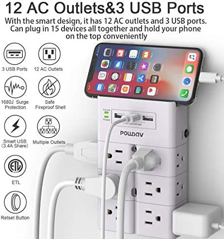 Multi Plug Outlet, Outlet Splitter, POWSAV Surge Protector Wall Mount with 12-Outlet Extender and 3 USB Ports(Smart 3.4A Total) for Home, Office, Dorm Essentials, Hotel, White, ETL Listed 12