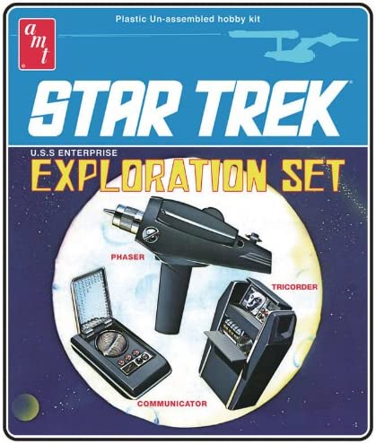 The Star Trek Exploration Set model kit box. It looks like it's not too difficult to land one of these.