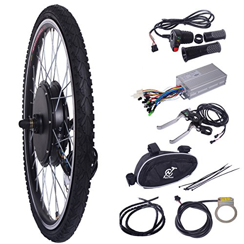 "LAZYMOON 26"" Front Wheel 48V 1000W Electric Powered Bicycle Motor Cycling Conversion Kit"