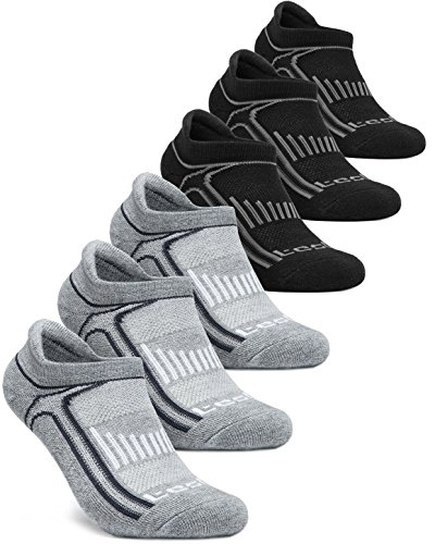 Tesla CLSL TM-MZS05-KGX_Small Men's 6-Pairs Atheltic No Show Socks Cushioned Comfort w Mesh MZS05