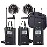 Wireless Lavalier Microphone System(2TX+1RX), Comica CVM-WM100 Plus UHF Dual Wireless Lapel Mic System for DSLR Canon Nikon Sony Panasonic Camcorder, Smarphone