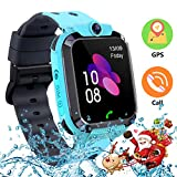 Themoemoe Kids Smartwatch, Smart Watch for Kids for 3-12 Year Old GPS/LBS Tracker with Camera Game Phone Call Compatible with Android iOS (2G Blue)