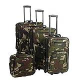 Rockland Luggage Skate Wheels 4 Piece Luggage Set, Camouflage, One Size