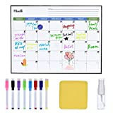 QEARLIZ Magnetic Dry Erase Calendar for Refrigerator, Monthly Refrigerator Whiteboard Calendar, 8 Colored Magnetic Markers, 1 Eraser with Magnet and 1 Water Spray Bottle for A Complete Set