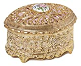 Gold Filigree Floral Oval Shaped Musical Jewelry Box playing the 18th Variation
