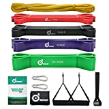 Odoland 5 Packs Pull Up Assist Bands, Pull Up Straps, Resistance Bands with Door Anchor and Handles, Stretch Mobility, Powerlifting and Extra Durable Exercise Bands with eGuide