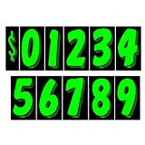 Auto Dealer Supplies 7 1/2 Vinyl Number Decals, Windshield Pricing Stickers, Chartreuse Car Lot Pricing Numbers, 11 Dozen