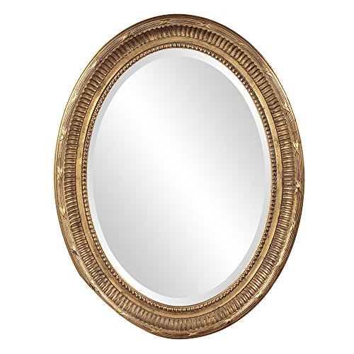 Howard Elliott Nero Oval Hanging Wall Or Vanity Mirror, 26 x 34 Inch, Rich Country Gold