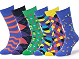 Easton Marlowe Mens - 6 PACK - Colorful Patterned Dress socks - 6pk #1, mixed - bright colors, 39-42 EU shoe size