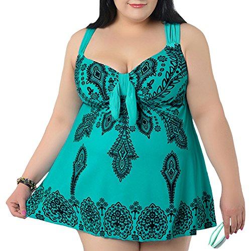 6ad8d4a8d518c NONWE Women s Plus-Size Swimsuit Retro Print Two Piece Pin up ...