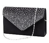 Jubileens Ladies Large Evening Satin Bridal Diamante Ladies Clutch Bag Party Prom Envelope (Black)