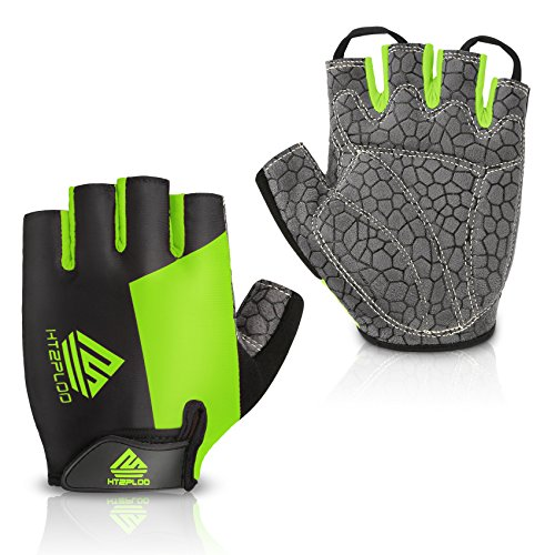 Cycling Gloves Mountain Bike Gloves Bicycle Riding Gloves Anti-slip Shock-absorbing Pad Breathable Half Finger Biking Gloves Outdoor Sports Gloves Men/Women (Black&Green, Large)