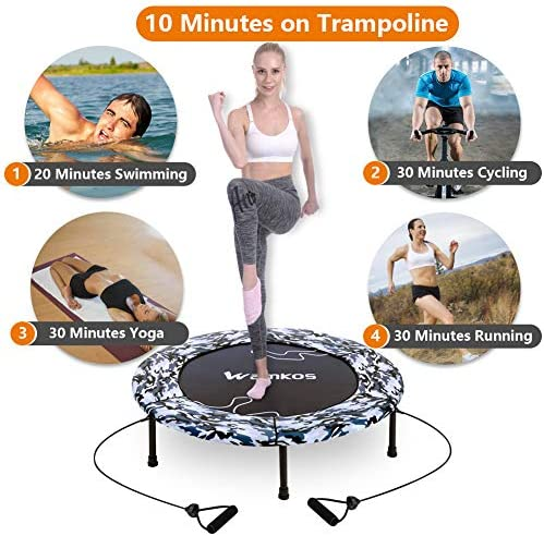 """2020 Upgraded Wamkos 40"""" Rebounder Mini Exercise Trampoline for Adults Kids,Indoor Foldable Fitness Trampoline Trainer with Resistance Bands for Sports & Outdoor,Yoga and Other Jumping Cardio Exercise 4"""