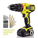 """CACOOP 20V Hammer Drill/Driver set, 2-Speed, ½""""All-Metal Chuck, Included 1)2.0Ah Li-Ion battery,1) rapid charger,12) wood drill bits,6) screwdriver Bits & 1) Magnetic Bit Holder (Hammerdrill)"""