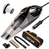 HOTOR [Upgraded] Car Vacuum Cleaner with LED Light, DC12-Volt Wet/Dry Portable Handheld Auto Vacuum Cleaner for Car,16.4FT(5M) Power Cord with Carry Bag(Black)