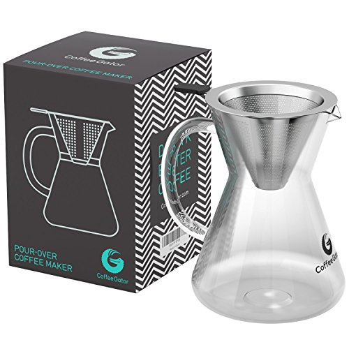 Coffee Gator Pour Over Brewer – Unlock Flavor with Paperless Filter and Carafe – 14floz