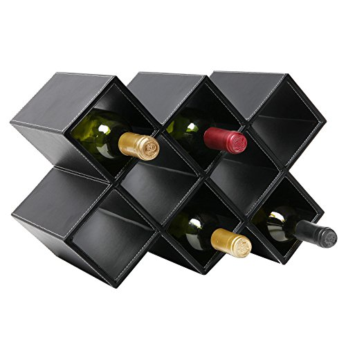 Leather covered wine rack with diamond-shaped slots, countertop