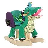 Labebe Child Rocking Horse Toy, Stuffed Animal Rocker, Green Crocodile Plush Rocker Toy for Kid 1-3 Years, Wooden Rocking Horse Chair/Child Rocking Toy/Outdoor Rocking Horse/Rocker/Animal Ride on