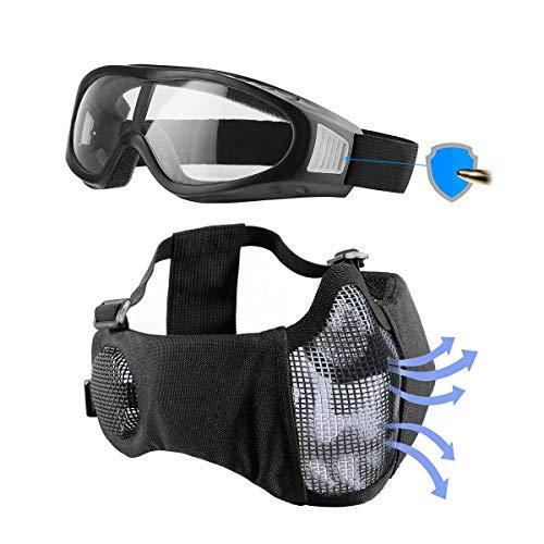 Showkoo Airsoft mask, Mesh Half Face Skull Set with Goggles, Upgrade Ear & Eye Protection [Airsoft Rated] Black Skull