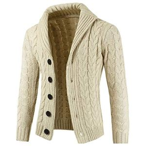 G-Real Men's Shawl Collar Cardigan Sweater Button Front Solid Knitwear