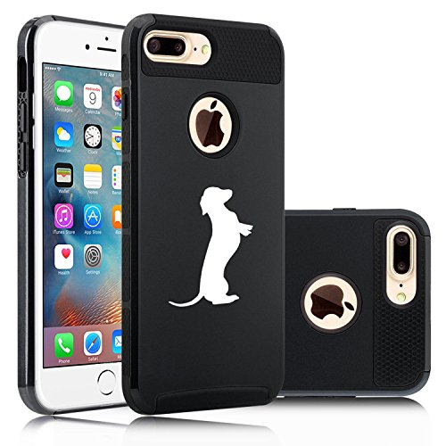 For Apple (iPhone 8 Plus) Shockproof Impact Hard Soft Case Cover Dachshund Standing (Black)
