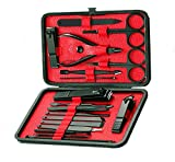 Cammyllc Updated 18 In 1 Mens Grooming Kit Manicure Set Nail Set Stainless Steel Professional Pedicure Nail Kit Scissors with Black Leather Travel Case (Black & Red)