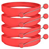 Ozera 4 Pack Silicone Egg Rings, Round Egg Cooker Maker, Non Stick Fried Egg Ring for Frying Eggs - Red