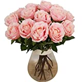 Bringsine Premium Artificial Flowers, Silk Flowers Artificial Rose Flowers Home Decorations for Bridal Wedding Bouquet, Birthday Flowers Bunch Hotel Party Garden Floral Decor Pink