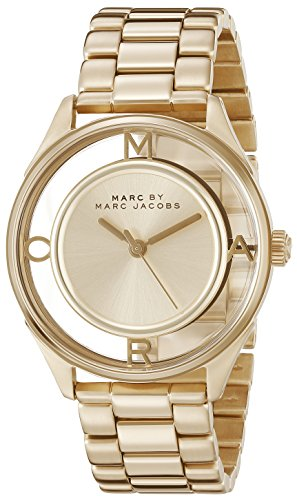 51XlOpggw3L Gold-tone watch featuring contemporary dial with translucent outer ring and four letter indices 36 mm stainless steel case with mineral dial window Quartz movement with analog display