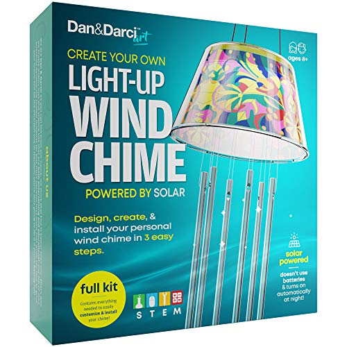 Dan&Darci Create Your Own Solar-Powered Light-up Wind Chime Kit - Color, Create and Install in 3 Easy Steps - STEM Science Fun