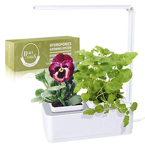 Indoor Herb Garden, BEAUTLOHAS. Hydroponics Growing System with Timer Function & Self-Watering, LED Grow Light for Herb/Vegetable/Flower, Smart Garden Grow Kit for Home/Room/Kitchen/Office