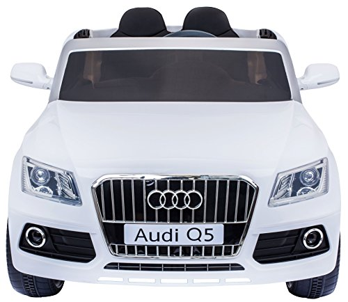 Audi Q5 Style Premium Ride On Electric Toy Car For Kids - Two Leather Seats - 12V Battery Powered - LED Lights - MP3 - RC Parental Remote Controller - Suitable For Boys & Girls - Real Paint - White