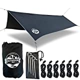 The Outdoors Way Hammock Tarp- 12 Foot Quality Rain Fly for Extreme Waterproof Protection, Large Canopy is Portable and Provides Ideal Shelter for Your Camping Hammock Or Tent. Performance Delivered!