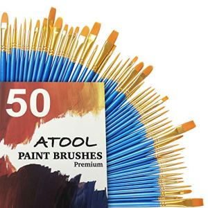 Acrylic Paint Brushes Set, 5 Packs / 50 pcs Nylon Hair Brushes for All Purpose Oil WatercolPainting Artist Professional…
