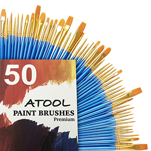 Acrylic Paint Brush Set, 5 Packs / 50 pcs Nylon Hair Brushes for All Purpose Oil Watercolor Painting Artist Professional Kits