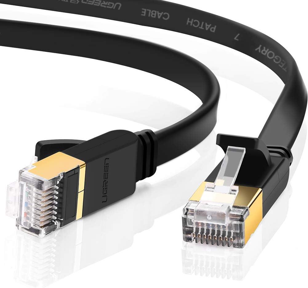 UGREEN CAT 7 Plat Câble Ethernet Réseau RJ45 Haut Débit 10Gbps 600MHz UFTP 8P8C Compatible avec Routeur Modem Switch TV Box PC Xbox PS3 PS4 Consoles de Jeux, Noir (1M)