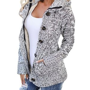 Sidefeel Women Hooded Knit Cardigans Button Cable Sweater Coat 4 Fashion Online Shop Gifts for her Gifts for him womens full figure