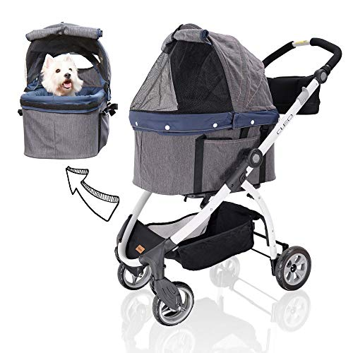 ibiyaya Detachable Pet Carrier Stroller for Dogs and Cats – 3-in-1 Travel Crate + Car Seat + Carriage Stroller in One, 1