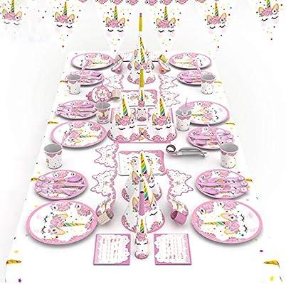 90 قطعة مجموعة أدوات المائدة الوردية أحادية القرن للحفلات