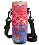 Richen Neoprene Water Bottle Carrier Bag with Adjustable Shoulder Strap,Insulated Water Bottle Cover for 750ml/24oz Stainless Steel/Glass/Plastic Bottles (Mermaid Scale,750ML)
