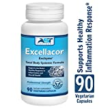 Excellacor – Proteolytic Systemic Enzymes Formula – with Enteric-Coated Serrapeptase - Total Body Support - 90 Vegetarian Capsules - AST Enzymes