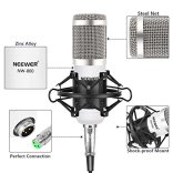 Neewer-NW-800-Pro-Studio-Broadcasting-Recording-Condenser-Mic-Kit-with-NW-35-Adjustable-Mic-Suspension-Scissor-Arm-Stand-with-Black-Shock-Mount-and-Table-Mounting-Clamp-Pop-FilterWhite-and-Silver