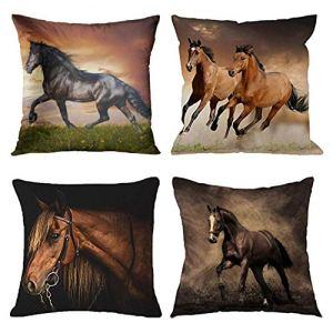 Emvency Set of 4 Throw Pillow Covers Horse Running Waist Horses Armchair Simplin Creative Cartoon Animal Night…