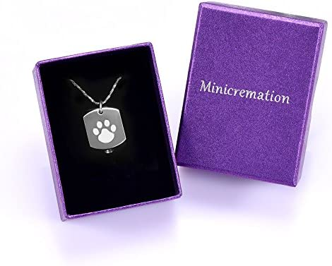 Minicremation Cremation Jewelry Urn Necklace for Ashes for Pet, Paw Print Memorial Ash Jewelry, Keepsake Pendant for Pet's Cat Dog's Ashes with Filling Kit 7