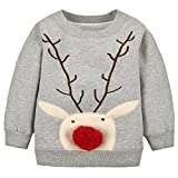 Jojobaby Unisex-Baby Santa Claus Sweater Kids Christmas Jumper Toddler Hoodies Sweatshirt (12-18 Months, Gary-1)
