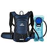 RUPUMPACK Insulated Hydration Backpack Pack with BPA Free 2L Water Bladder - Keeps Liquid Cool up to 4 Hours, Prefect Outdoor Gear for Hiking, Running, Cycling, Camping, Skiing, 15L (Navy Blue)