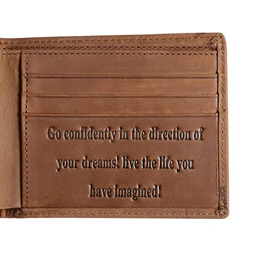 Genuine Leather Personalized Bifold Wallet for Men, RFID Blocking Wallet Gifts for Friends Son, Graduation Gifts (Graduation Gifts)