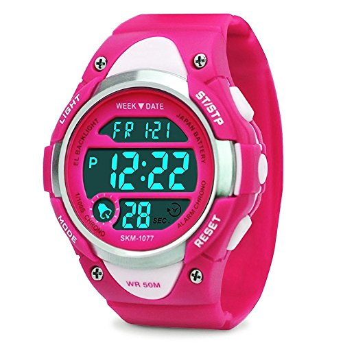 Girls Digital Watch - Kids Sports Waterproof Outdoor Watches with Alarm Stopwatch Youth Children LED Electronic Wristwatch - Rose Red